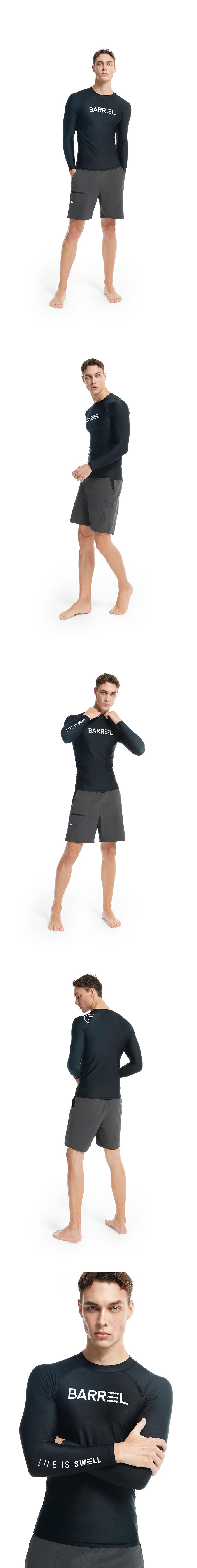 배럴(BARREL) 맨 베이직 썬 래쉬가드 블랙 (BG2MWRG05BLK)