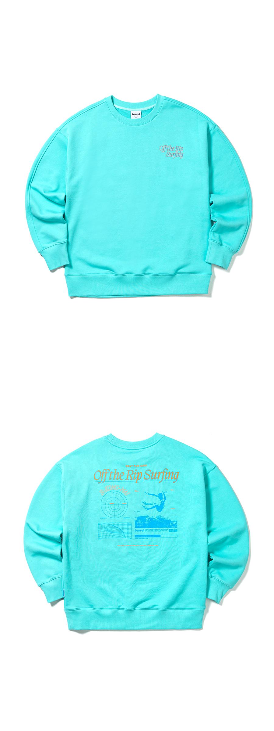 배럴(BARREL) 유니섹스 오프더립 스웨트 셔츠 민트 (BH1UHMM01MNT)