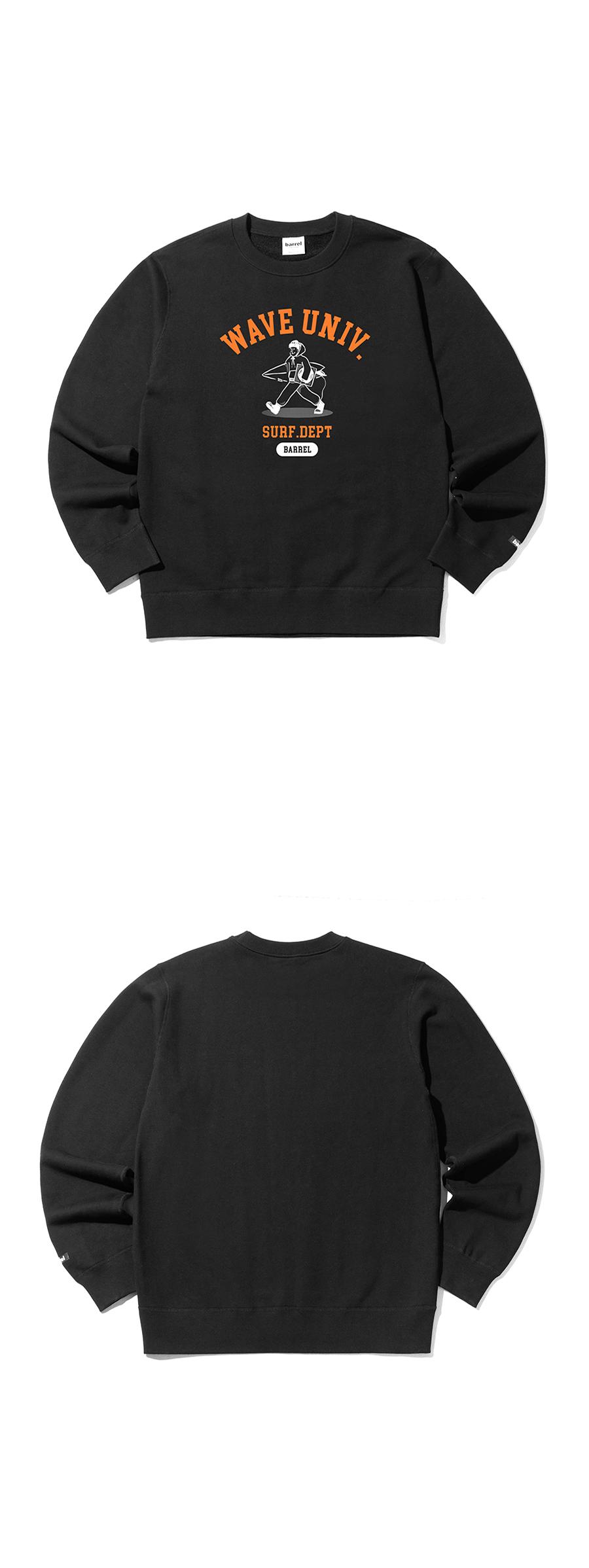 배럴(BARREL) 유니섹스 유니버시티 그래픽 스웨트셔츠 블랙 (BH1UHMM05BLK)